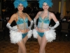 Turquoise showgirls with feathers